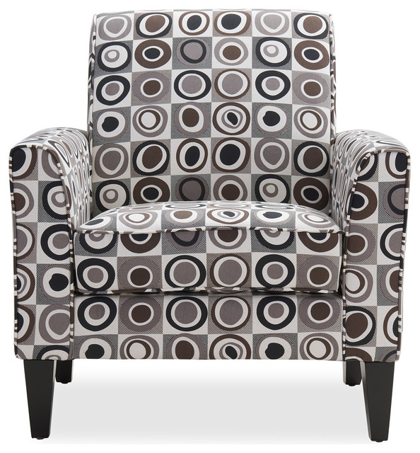 Bloomfield Arm Chair, Gray, Black And Brown Geometric Circles