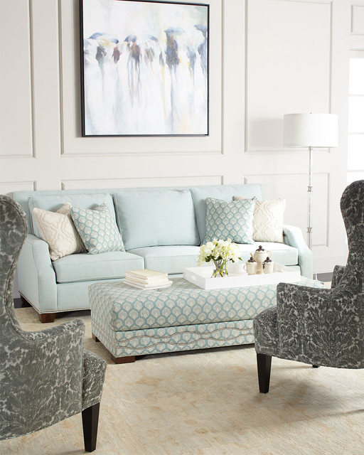 sea mist sofa, sea mist oversized ottoman, & misty tufted chair
