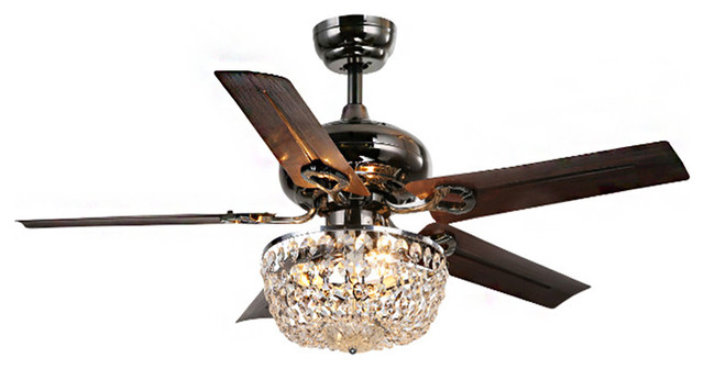 Warehouse Of Tiffany Crystal 5 Blade 43 Bronze Chandelier Ceiling Fan.