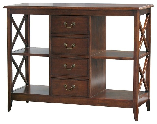 Eiffel Console Table With Drawers And Shelves.