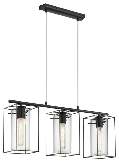Black  Eglo Loncino 3-Light Ceiling Light