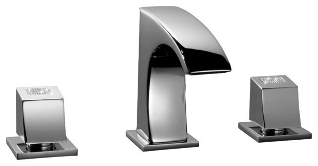 Skip Diamond 2 Handle 3 Holes Bathroom Faucet Swarovski Crystal Transitional Bathroom