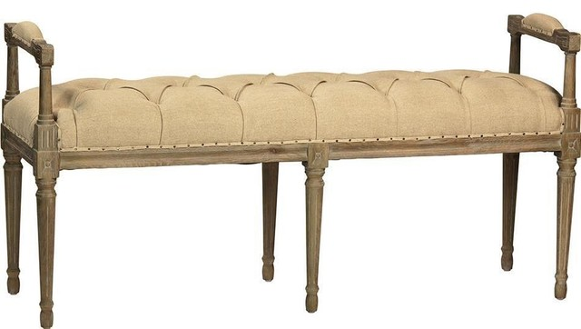 Yves Natural White 100% Linen Bench.