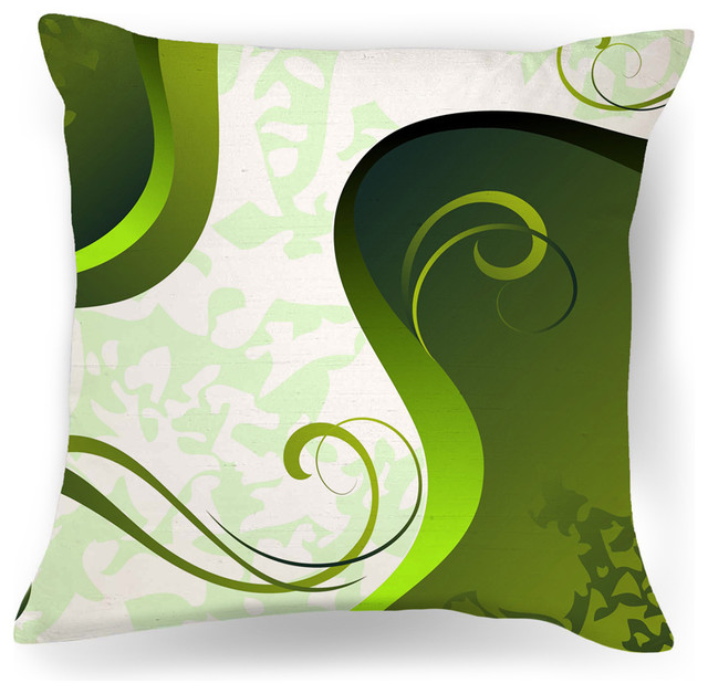 Contemporary Decorative Pillows: Abstract Green And White Modern Throw Pillow