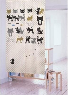 Lucky Cats Japanese Noren Curtain Asian
