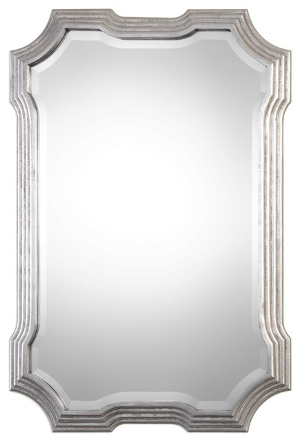 "Unusual Mirror art deco silver curves wall mirror, 40"" shaped vanity retro"