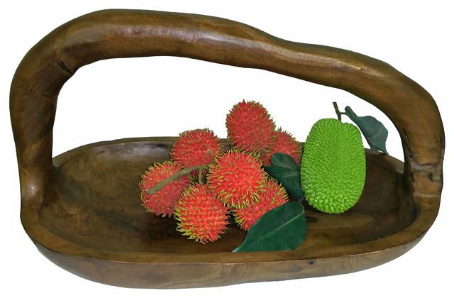 Teak Long Bowl With Handle