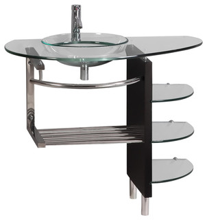 """Wall-Mount Tempered Glass Vessel Sink and Shelf Set, 39"""" - Contemporary - Bathroom Vanities And ..."""