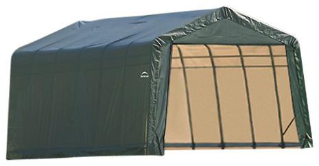 12&x27;x24&x27;x8&x27; Peak Style Shelter, Gray, Green.