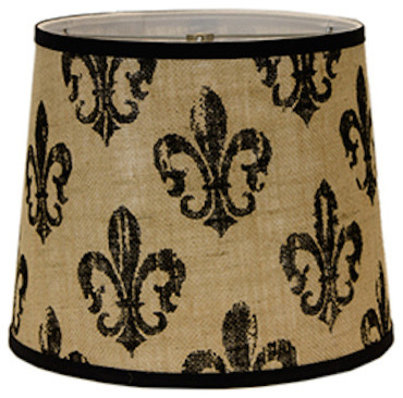 Fleur de lis burlap lampshade contemporary lamp shades by west fleur de lis burlap lampshade brown and black 5 empire with candle mozeypictures Images