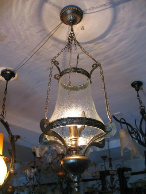 Antique Metal And Bubble Glass Pendant Lighting