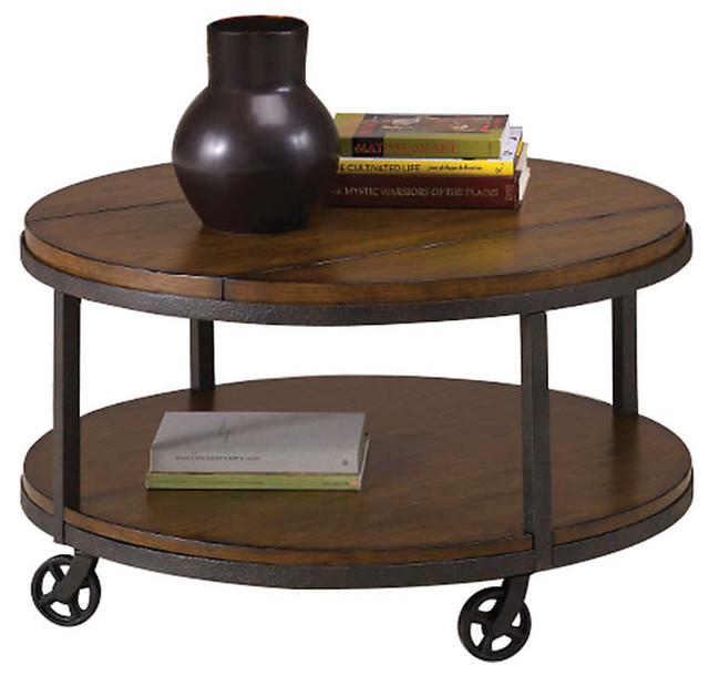 Baja Round Cocktail Table By Hammary Industrial Coffee