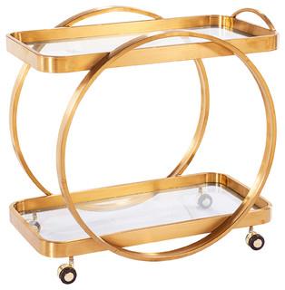 Connery Bar Cart, Antique Gold