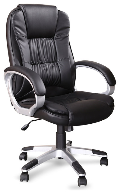 Ergonomic Office Faux Leather Chair Hydraulic Seat Black