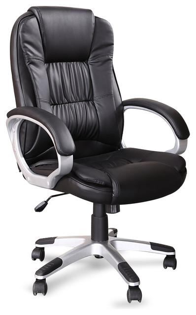 Beau Ergonomic Office Faux Leather Chair, Hydraulic Seat, Black