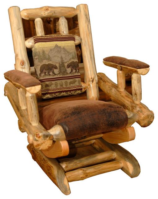Nice Pine Log Rocking Chair On Platform, Clear Coat