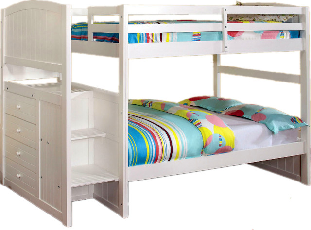 White Wood Twin Bunk Bed Built-In 4 Drawers Front Access Steps.