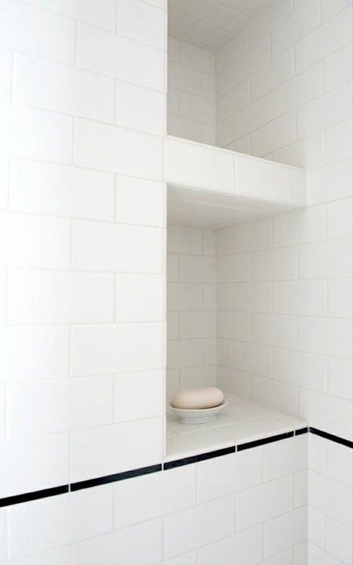 Shower nook / shelf. How do I finish the edges?