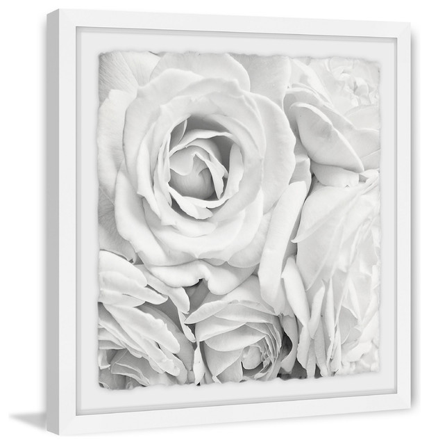 """""""soft White Petals"""" Framed Painting Print, 24""""x24""""."""