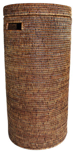 Rattan Tall Round Laundry Hamper 28 Quot Tropical Hampers