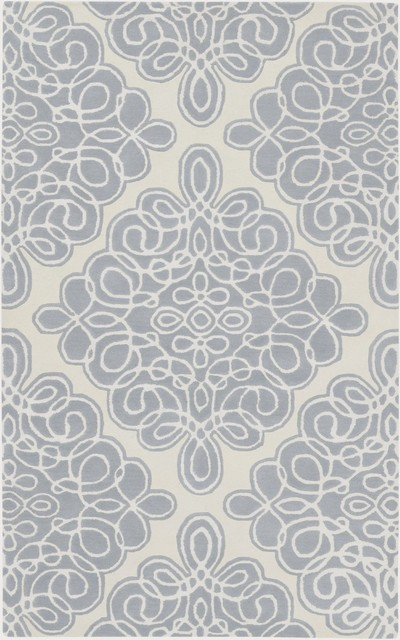 Modern Classics Area Rug, Rectangle, Off White-Gray Blue, 5'x8'