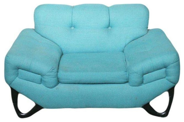 Adrian Pearsall Style Vintage Blue Lounge Chair  Contemporary Armchairs And Accent Chairs