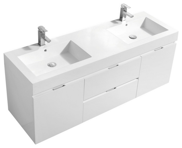 """Bliss 60"""" Double Sink Wall Mount Bathroom Vanit, High Gloss White"""