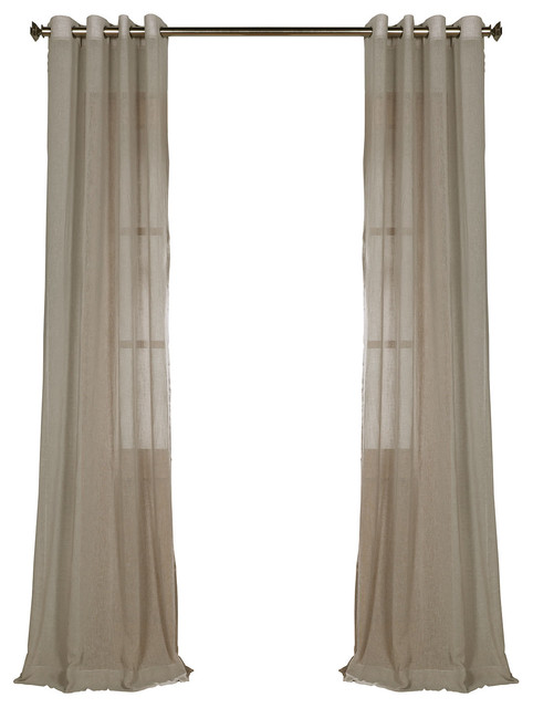 "Paris Gray Grommet Solid Fauxlinen Sheer Curtain Single Panel, 50""x96""."