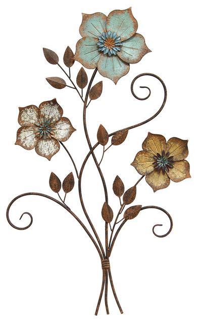 Stratton Home Decor Tricolor Flower Wall Decor Contemporary Metal Wall Art By Ami Ventures Inc