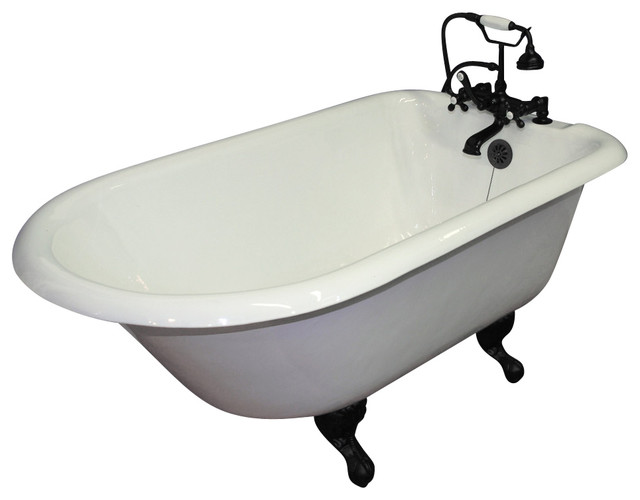 """55"""" Cast Iron Rolled Rim Tub, 7"""" Faucet Hole Drillings, Oil Rubbed Bronze Feet."""