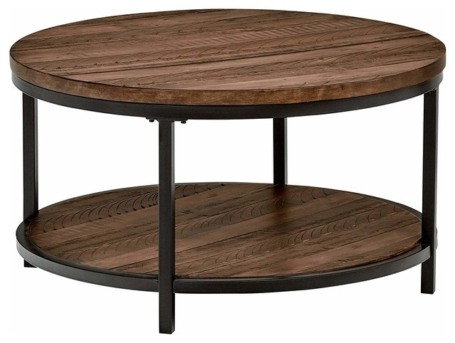 Industrial Round Coffee Table Pine Wood Metal Open Shelf Walnut Finish Industrial Coffee Tables By Decor Love