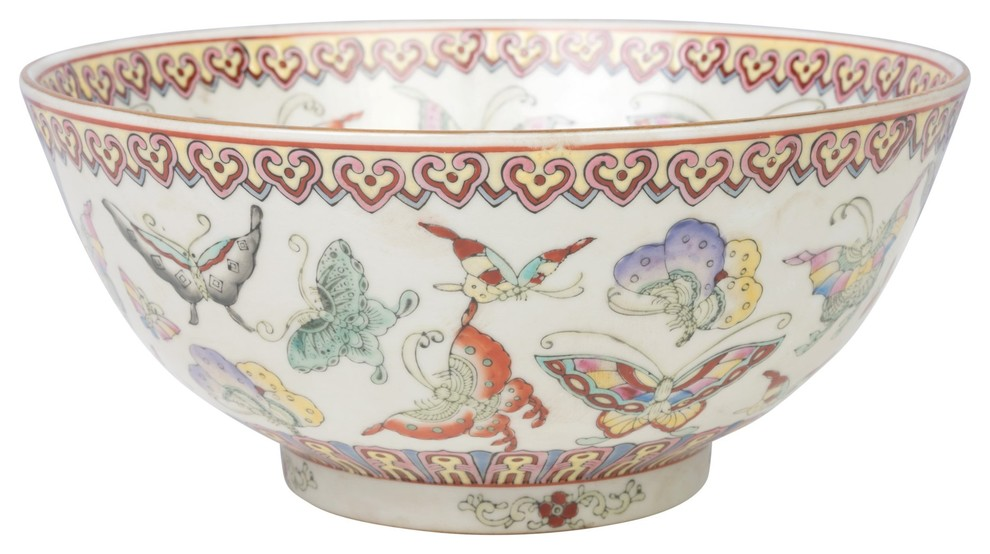 Beautiful Chinese Butterfly Motif Porcelain Bowl 10 Diameter Asian Decorative Bowls By William Sung Houzz
