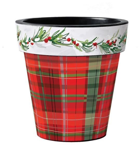 Christmas Plaid Planter Contemporary Outdoor Pots And