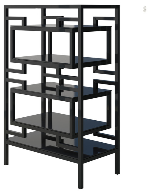 Ernest Modern Etagere Bookshelf With Black Metal Frame, Small Modern  Bookcases