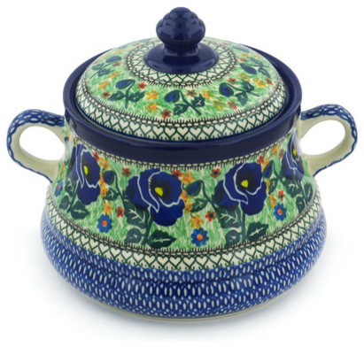 Polmedia Polish Pottery 9 Stoneware Jar With Lid And Handles.