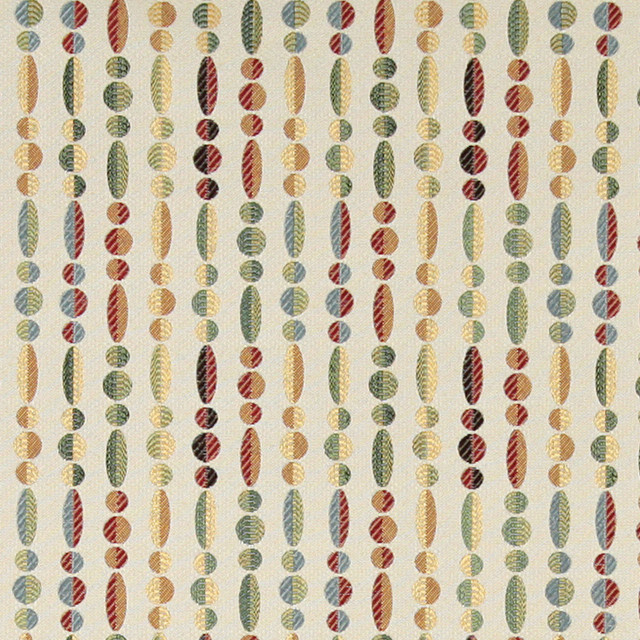 Green Yellow And Red Striped Contemporary Upholstery