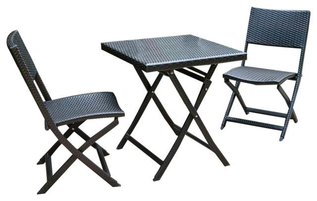 dola outdoor 3 piece folding bistro set in dark espresso wicker