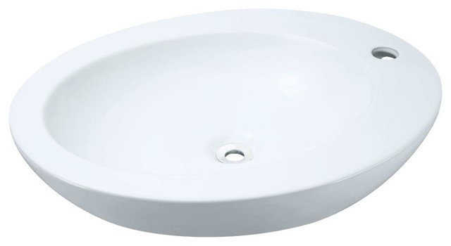 Porcelain Vessel Sink, White, Sink Only, No Additional Accessories