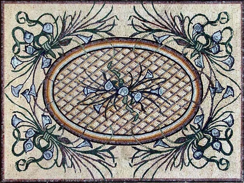 Marble Floor Flower Mosaic, Lelia - Traditional - Tile Murals - By Mozaico Inc