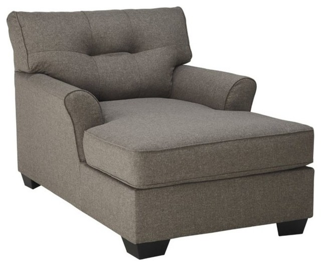 Ashley tibbee chaise slate transitional indoor chaise for 2 arm pressback chaise