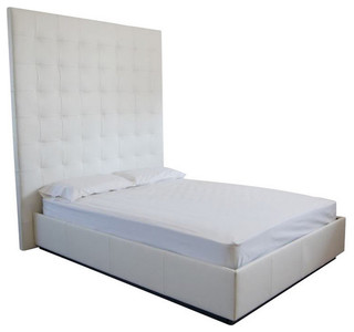 Modern Contemporary White Genuine Leather Tufted Bed XXT, King