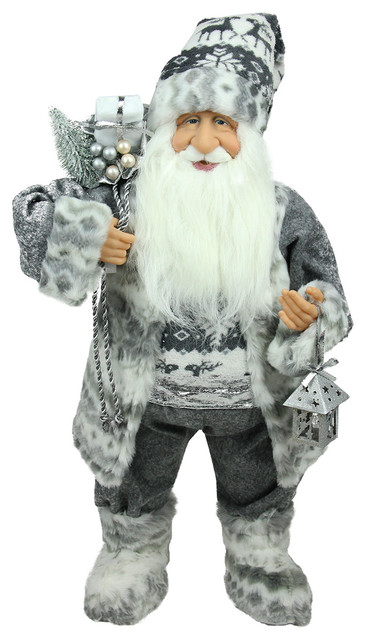 Alpine Standing Santa Claus In Gray And White With A Bag And Lantern Figure.
