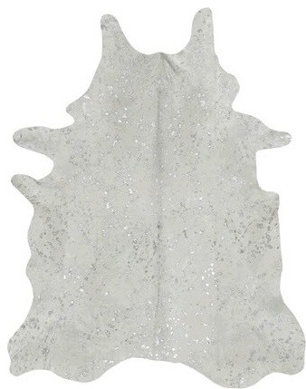 devore metallic cowhide rug in white with small silver pattern