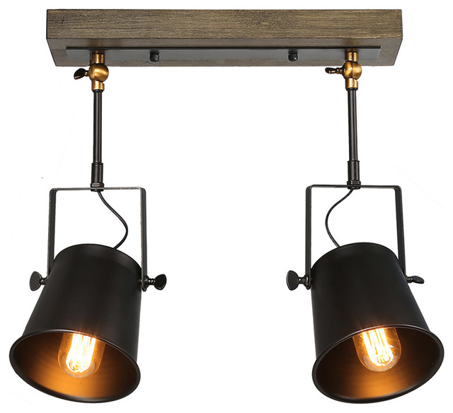 2 Light Transitional Wood Close To Ceiling Track Lighting Spotlights