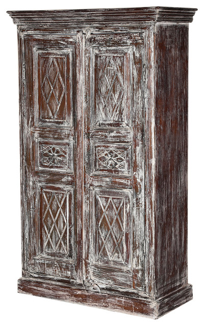 gothic kitchen cabinets willamette 59 quot frosted rustic 2 door armoire storage 1269