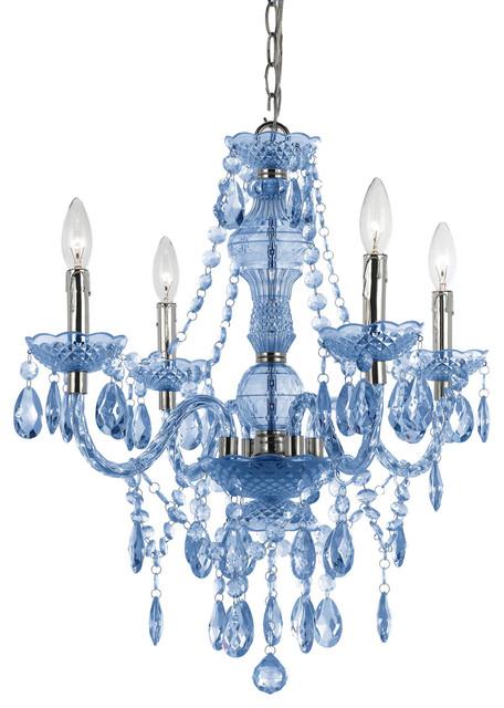 Naples 4-Light Mini Chandelier, Blue