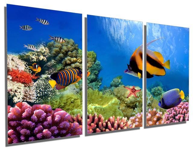 Marine Life C Reef Metal Print Wall Art 3 Panel Split Triptych