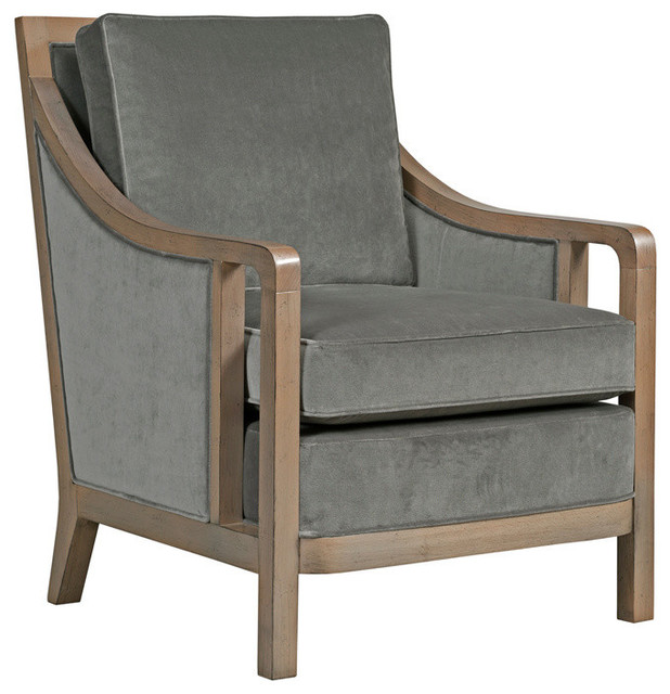 Bowery Boxed Back Wood Frame Chair, Burlap