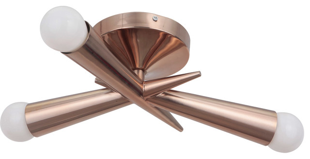 Nova 3-Light Semi-Flush Mounts, Satin Brass.