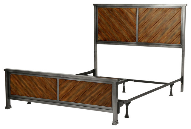 Braden Complete Bed With Metal Panels And Reclaimed Wood Design, Queen.